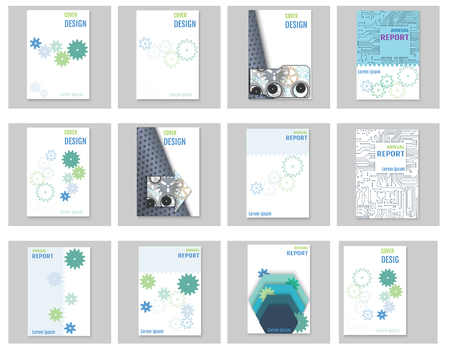 gearwheels: pages of infographic brochures and flyers for business data visualization. Use for marketing, websites, print, annual report and business presentations. Illustration