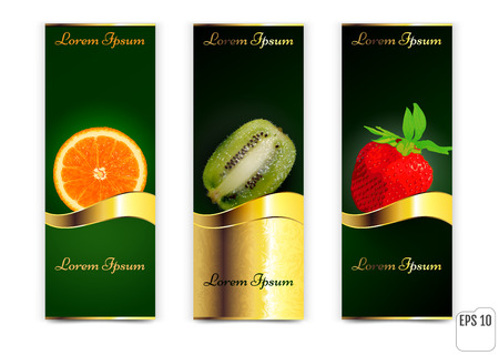 Three banners with oranges, kiwi and Strawberry on a white background. vector