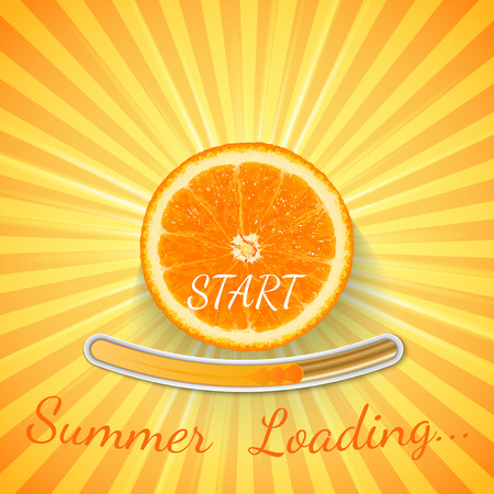 Fruit Orange. Summer loading bar orange background with sun rays and sun flash. Vector