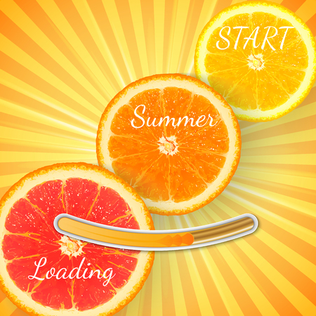 Fruit Orange. Summer loading bar orange background with sun rays and sun flash. Vector
