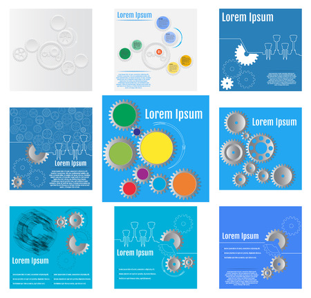 gearwheels: Vector illustrations of gears with on the blue and white backgrounds. Set of Infographic vector templates
