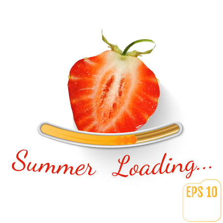 Strawberry. Summer loading bar Strawberry background with sun rays and sun flash. Vector