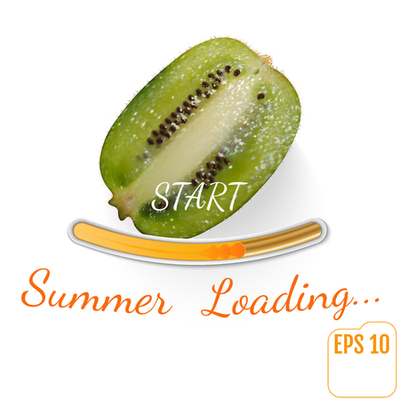 Juicy Fruit kiwi. Summer loading bar, white background. Vector