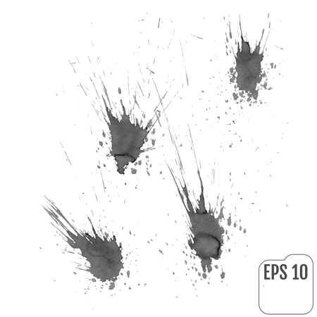 Vector set: ink blots in gray tones Illustration
