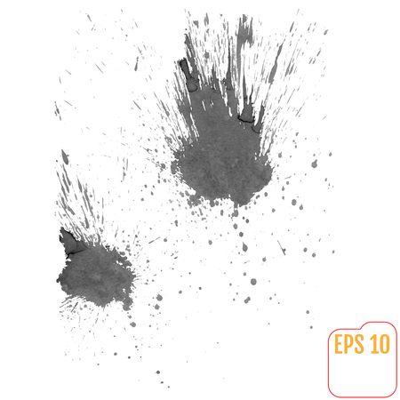 water splash isolated on white background: Black ink splashes in watercolor style Illustration