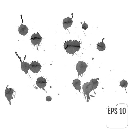 Set of gray splash on white background. Grunge ink blots and drops. High quality manually traced vector illustration