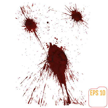 Stains and puddle of blood, isolated on white background. Vector Illustration