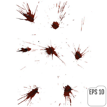 Realistic blood drips. Splash and spray of blood. Vector