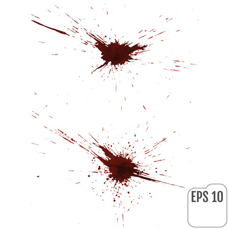 Blood splatters on white. Vector