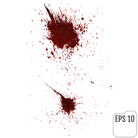 Realistic blood splatters. Elements of design for halloween. Vector illustration.