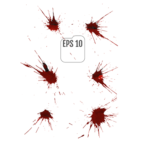 Set of various blood or paint splatters drops and trail Isolated on white background,  vector design element illustration Illustration
