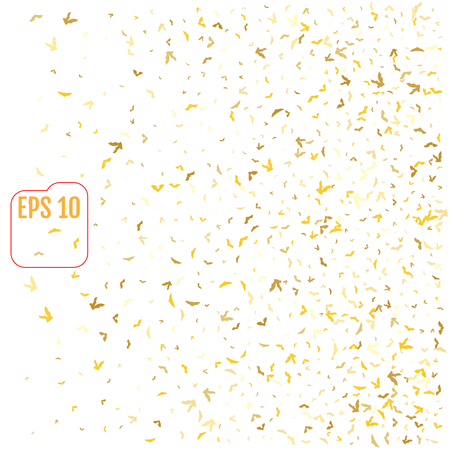 Abstract pattern of random falling gold bats on white background. Glitter pattern for banner, greeting card, halloween card, invitation, postcard, paper packaging. Vector illustration