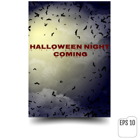spider web: Halloween vector background with moon and bats.