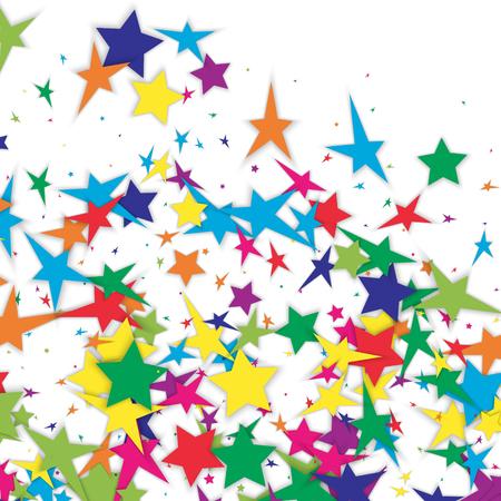 Background of multicolored confetti stars