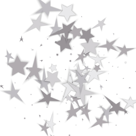 Silver glitter falling stars. Silver sparkle star on white background. Vector template for New year, Christmas, birthday, party, wedding, card, invitation, flyer, voucher, web, header. Star confetti.