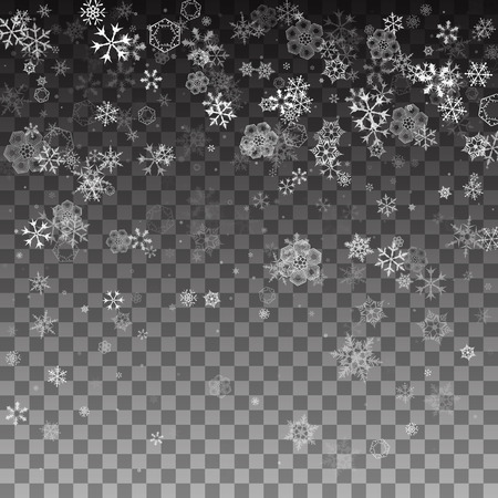Abstract pattern of transparent falling snowflakes on translucent background. Pattern for banner, greeting, Christmas and New Year card, invitation, postcard, paper packaging. Vector illustration