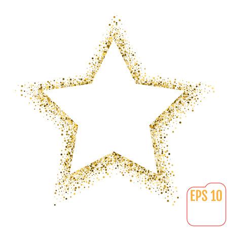 白い背景にゴールデン スター ベクトル バナー。ゴールドのキラキラ星。バナー、カード、vip、排他的なゴールド テンプレート星、証明書、ギフト