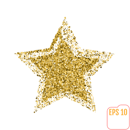 Golden star vector banner on white background. Gold glitter star. Gold template star for banner, card, vip, exclusive, certificate, gift, luxury, privilege, voucher, store, present, shopping