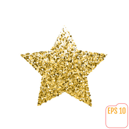 five stars: Golden star from stars. Shiny Golden star icon on white background. For banners, artwork, card, postcards, holiday. Vector illustration Illustration
