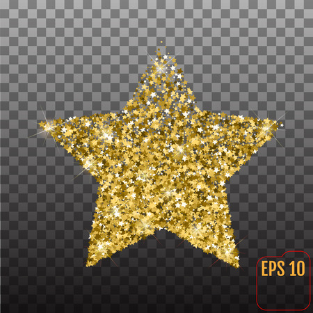 five stars: Golden star from stars. Shiny Golden star icon on transparent background. For banners, artwork, card, postcards, holiday. Vector illustration Illustration