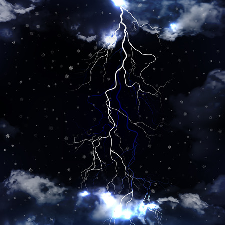 Lightning and snowfall with dramatic clouds. Vector