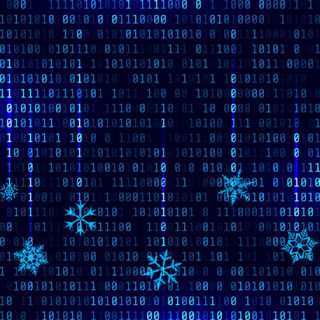 Vector matrix style binary background with falling snowflakes Vectores
