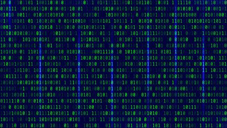 Arrière-plan dans un style de matrice. Chute de nombres aléatoires. Le vert est la couleur dominante. Illustration vectorielle Vecteurs