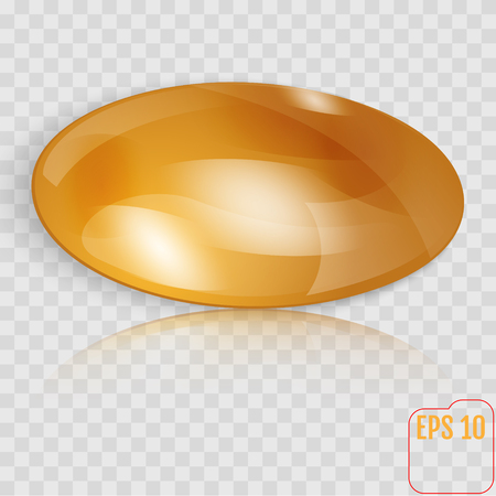 Template of gold throwing disk or button isolated on transparent background