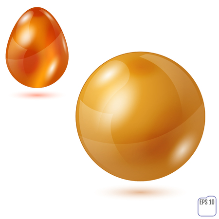 Vector Sphere and Egg - Side by Side - Geometrical Objects. Gold  Material. Spherical and Egg Shaped Item. Orb and Oval - Isolated on White Background