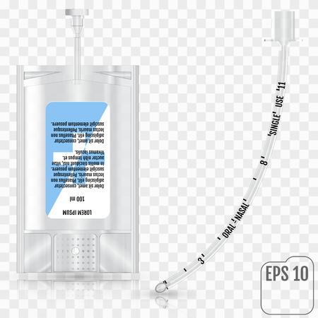 Realista líquido intravenoso y tubo traqueal sin manguito en el fondo transparente. Sistema de infusión y tubo traqueal sin manguito Ilustración de vector