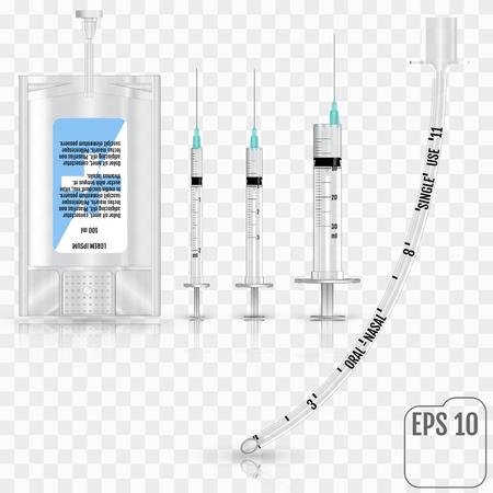 現実的な輸液、注射器、および透明な背景にカフなし気管チューブ。輸液システムとカフなし気管チューブ