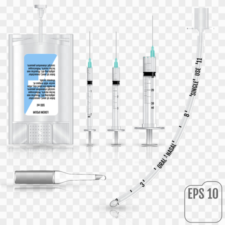 Realistic Intravenous fluid, syringe, ampoule, and tracheal tube without cuff on transparent background.  Иллюстрация