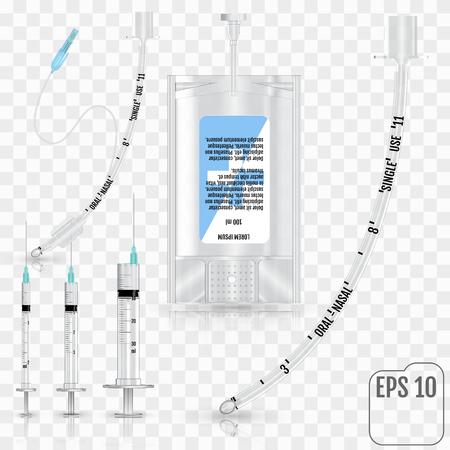 Realista Líquido intravenoso, jeringa, tubo traqueal sin manguito y tubo de intubación endotraqueal con manguito inflable sobre fondo transparente. Sistema de infusión Ilustración de vector