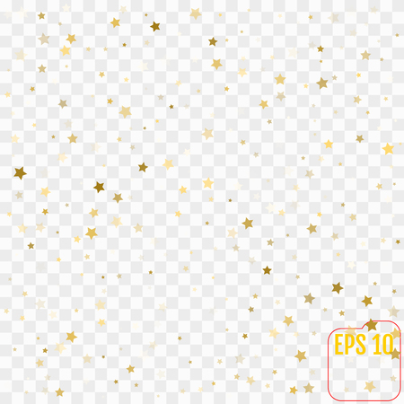 Gold star confetti rain festive holiday background. Vector golden paper foil stars falling down