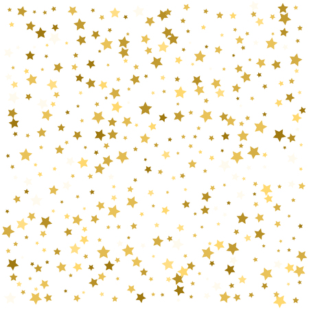 Gold star confetti for festive holiday background. Vector golden paper foil stars falling down Çizim