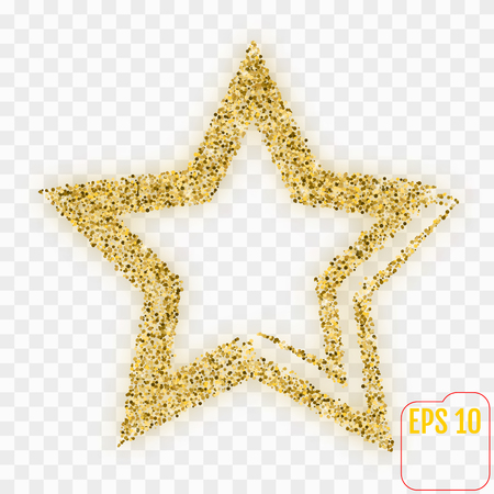 Gold star on checkered background. Illustration