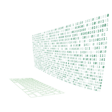 Laptop screen and keyboard with green binary matrix code closeup cybersecurity concep