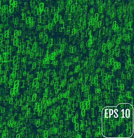 Binary code on green background. Background in a matrix style. Falling random numbers. Volume effect.  Green digital code numbers.