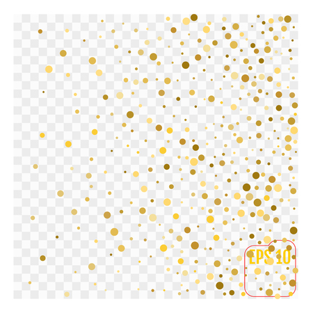 Gold glitter corners for frame or border, background vector illustration. Golden dust, flying circle yellow and brown confetti elements. Sparkle dots, round tinsel elements celebration graphic design.