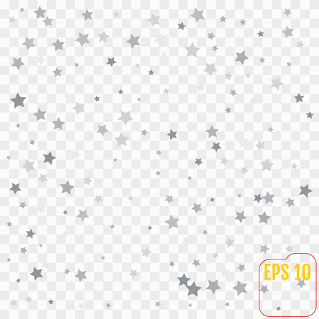 Star Falling Print. Transparent  Silver Starry Background. Vector Confetti Star Background Pattern. Gray Starlit Card. Confetti Fall Chaotic Decor. Modern Creative Pattern. Illustration