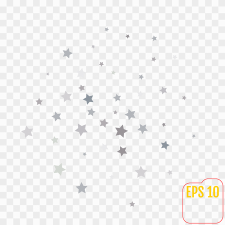 Abstract pattern of random falling silver stars on transparent  background. Glitter pattern for banner, greeting card, Christmas and New Year card, invitation, postcard, paper packaging. Vector