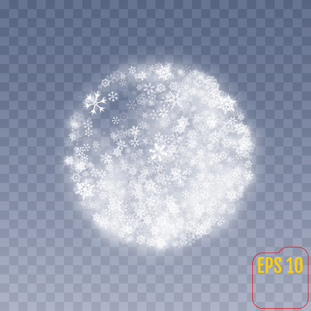Christmas sphere with snowflakes on transparent background. Vector.