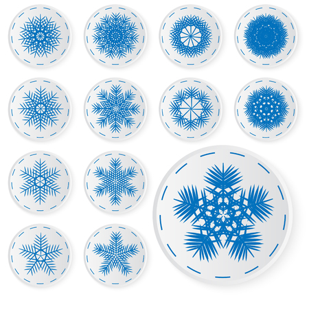 Vector set of paper snowflakes. Paper icons for your winter design.