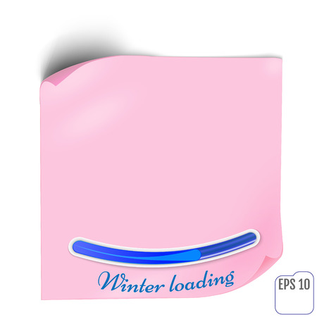 Pink Paper sticker with shadow. Blank web banner or curl label on white background. Vector white post note for advertising design. Winter loading concept Ilustração