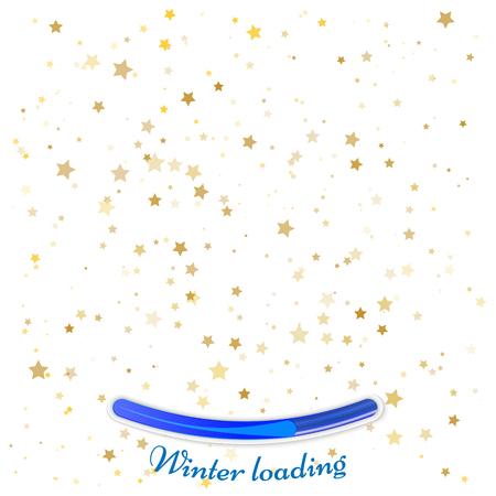 Festive flying gold stars shower. Winter loading concept Illustration