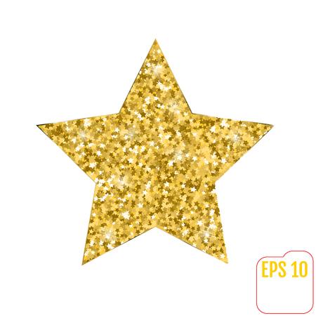 Vector illustration of gold star. Golden stars confetti