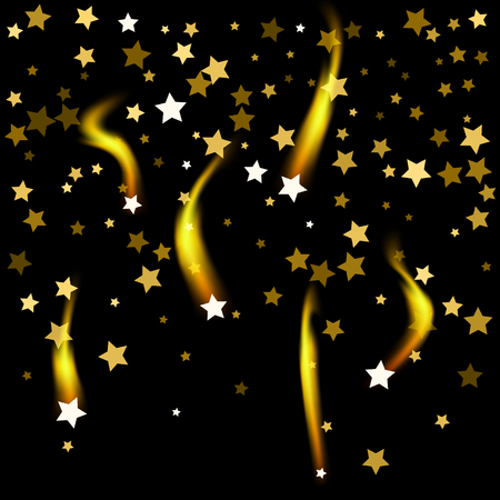 Black cover with gold stars confetti pattern. Illusztráció