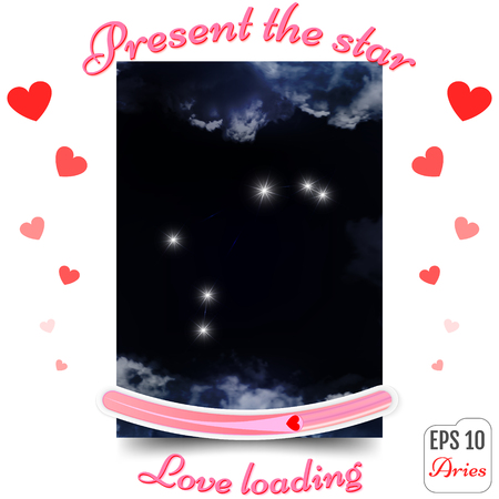 Aries Zodiac sign. Aries Horoscope constellation, stars. Present the star. The best gift to a loving heart. Love loading concept. Vector illustration