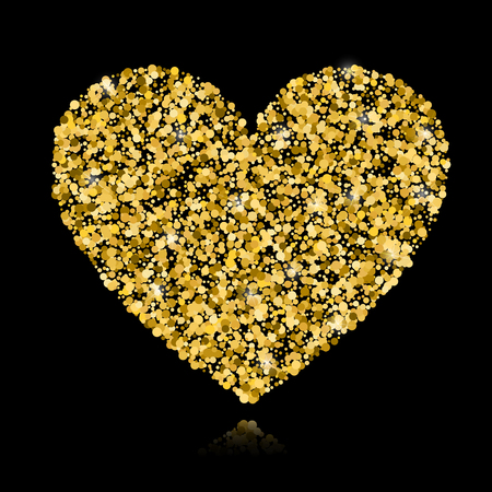 Abstract vector background with gold circles and a shape of a heart. Gold sparkles isolated on black background. Design for wedding card, valentine card.