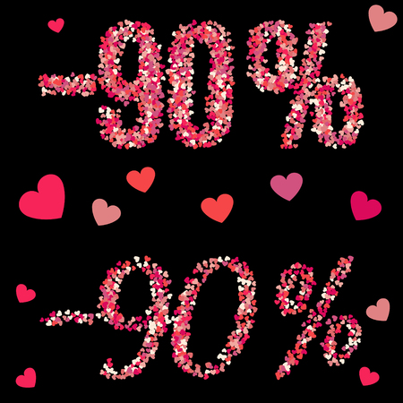 Valentines Day 90 percents discount mape from hearts confetti isolated on black background